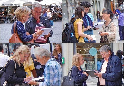 瑞士法轮功学员在日内瓦商业街传真相