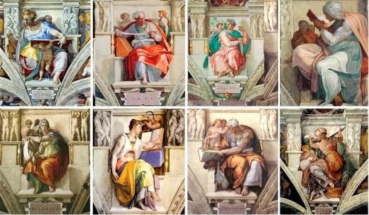 图2-3 部分合成图:《创世纪》的四周有很多预言家的像,他们拿着书、卷宗或是记录,他们对照册子关注着下面世界的一举一动。